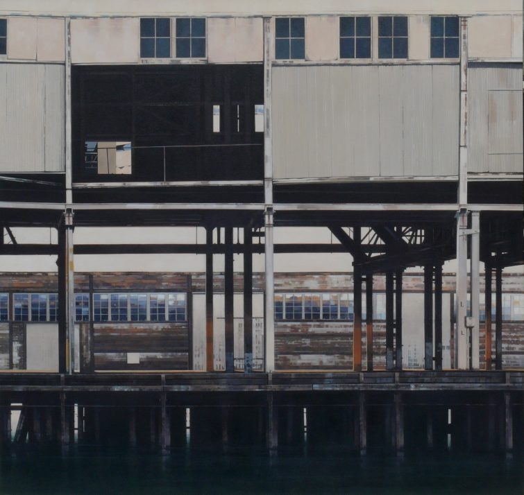 Finger Wharf, Walsh Bay (2)100 x 105 cm acrylic on canvas