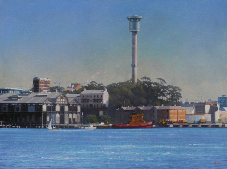 Walsh Bay and Barrangaroo Construction 60 x 79.5 cm acrylic on canvas